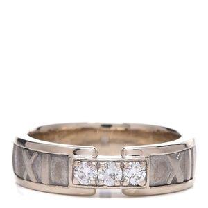 TIFFANY 18K White Gold Diamond Atlas Ring 50 5.5